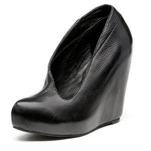 Matiko Jovana Asymmetrical Black Leather Wedge 9